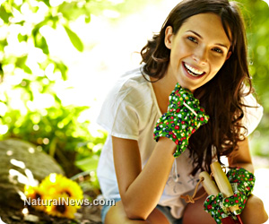 Healthy-Girl-With-Fruits-And-Veggies-Trees-Flowers